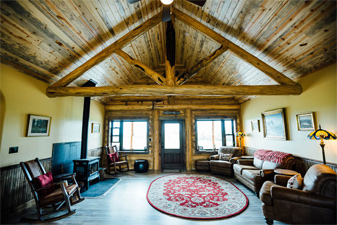 Laminate and tile in log home